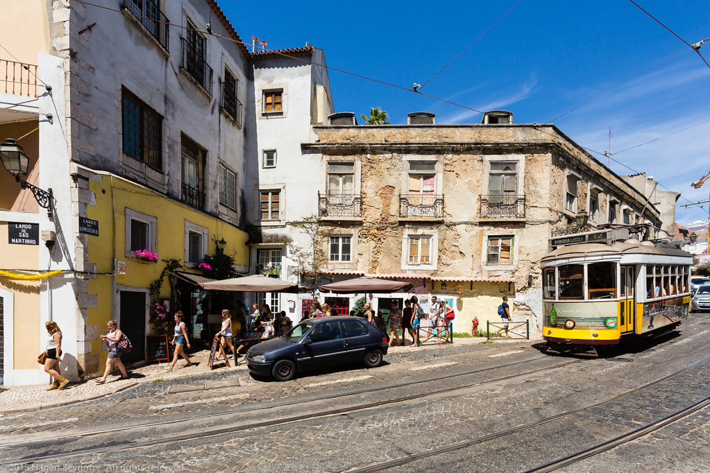 Tramway in the historic Alfama